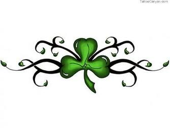 Designs Green Clover On Black Stem Tattoo Wallpaper Picture 3402