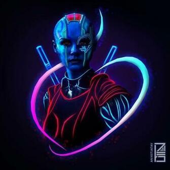 NebulaMarvel Neon Potraits Painting Nebula Marvel Marvel