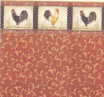 Dollhouse Wallpaper Kitchen Wallpaper Red Rooster Gold Swirl