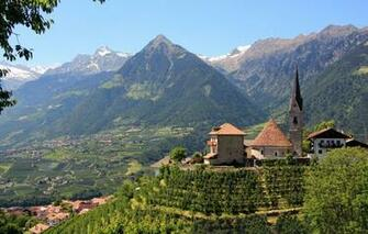 Wallpaper mountains valley Italy Church panorama Italy