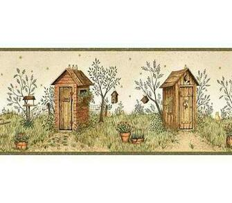 Garden Outhouses Wallpaper Border   Rustic Country Primitive