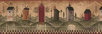 Outhouses Wallpaper Border country outhouse rustic by Borders2u