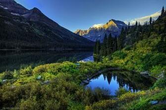 Download wallpaper Glacier National Park lake Mountains trees