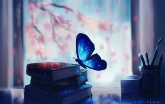 Blue Butterfly Books Art HD Wallpaper