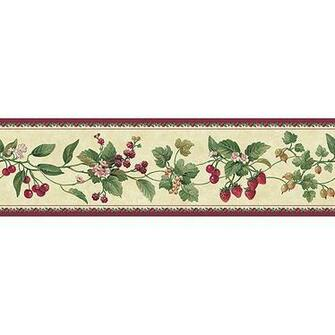 Blue Mountain Floral and Berry Wallpaper Border BurgundyBeige