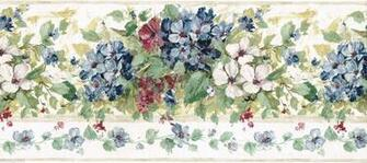 Blue Burgundy Hydrangea Flower Floral Green Leaf Brush Stroke Wall