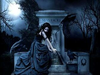 Gothic women dark fantasy poe raven wallpaper 1600x1200 28003