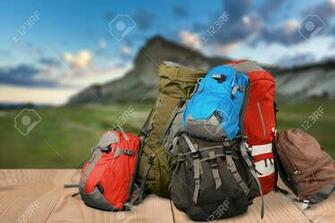 Tourists Backpacks For Leisure Activities On Background Stock