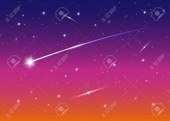 Shooting Star Background Against Dark Blue Starry Night Sky