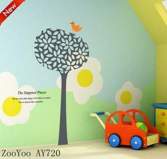 Big size green removable wallpaper murals crafts wall stickers home