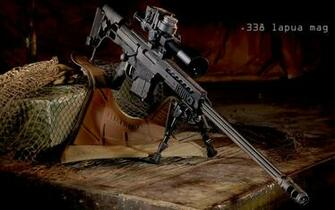 Barett 98 B 338 Lapua HD Sniper Rifle Desktop Gun Background