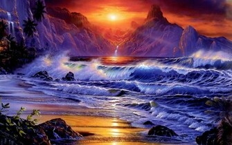 Sunsets Ocean Wallpaper 1920x1200 Sunsets Ocean Waves Fantasy Art