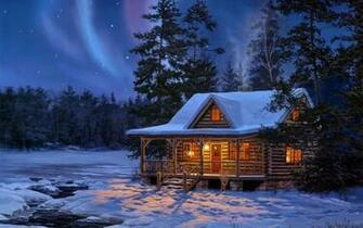 Northern Lights Log Cabin Wallpaper download   Download