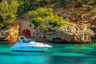 Photo Majorca Mallorca Spain Mediterranean sea Sea Crag Nature Yacht