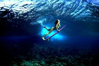 Board ocean girl surf surfing bikini sexy babe underwater wallpaper