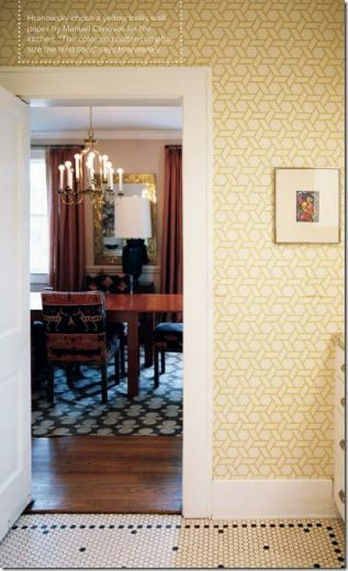 above yellow trellis wallpaper by Manuel Canovas for Cowtan Tout