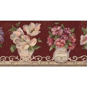 Burgundy Floral Vases Wallpaper Border Home Kitchen