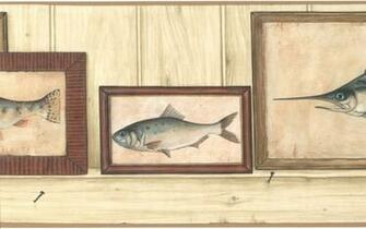 Fish Frame Trout Man Cave Vintage Tan Sword Wallpaper Wall Border