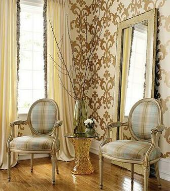 Modern wallpaper Brown blue decor cream metallic damask over