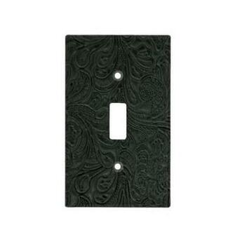 Black Tooled Leather Look Faux Western Switch Plate Covers Zazzle