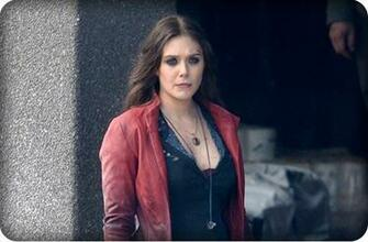 Production photos of Elizabeth Olsen as the Scarlet Witch during the