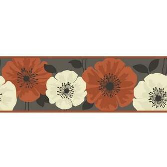 Poppie Designer Feature Wallpaper Border Brown Orange Flower eBay