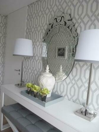 Trellis Wallpaper Grey and White Foyer Related Images