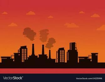 Pollution industry on orange background Royalty Vector