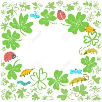 Frame With Clover Leaves And Insects Background With Cute Bugs