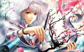 Cute Guy Artist Painting Flowers White Hair Anime HD Wallpaper Desktop