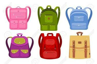 Color Image Of A Collection Of Backpacks On A White Background