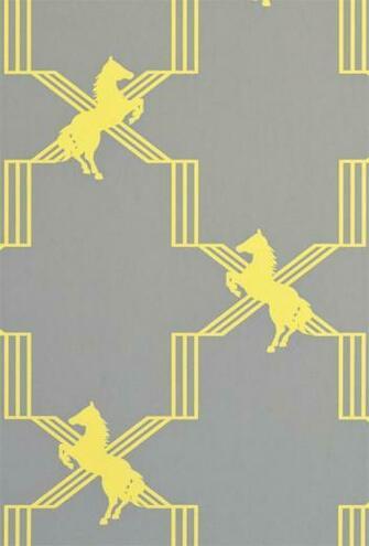 Horse Trellis Wallpaper A grey wallpaper with a clever trellis design
