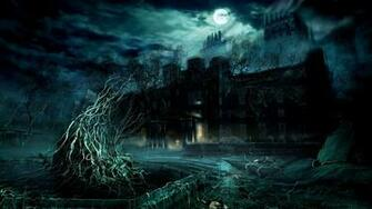 Haunted Cool Background Castle Tree wallpapers HD   202957