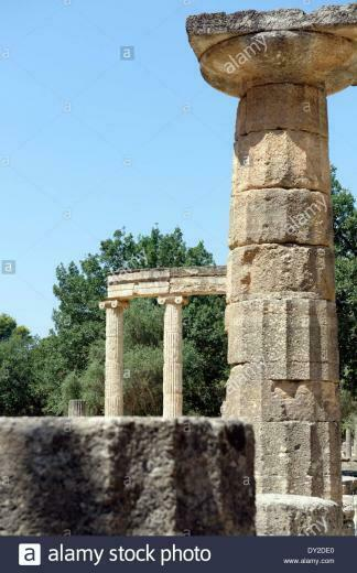 Column from Temple Hera In background circular Philippeion Ancient
