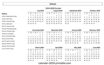 2019 20 school yearly calendar Academic calendar School