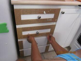 cabinet doors will open widely Apply a Dry Dex Spackling by DAP then