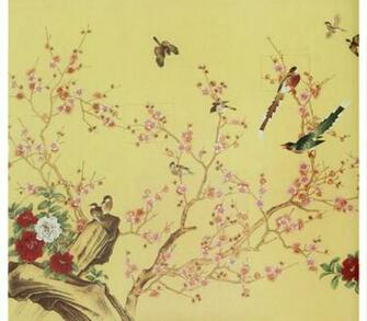 Gorgeous Flowers Birds Hand Made Oriental Style Yulan Wall Paper