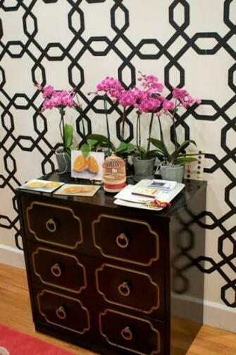 Removable wallpaper can be found at Sherwin Williams Pattern shown