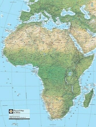 Physical Map of Africa Wallpaper Wall Mural   Self Adhesive   Multiple