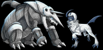 Aggron And Absol by Velkss