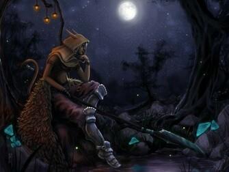 Warrior Elves Spear Night Moon Hood headgear Fantasy elf wallpaper