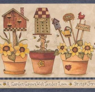 Yellow Flowers in Pots Birdhouse Bee Nest Farmhouse Wallpaper