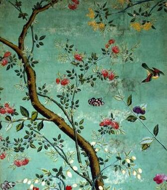 Chinese Wallpaper Wallpaper with flowering shrubs and fruit bees on
