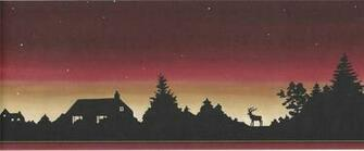 Wallpaper Border Lodge Log Cabin Moose Sunset Silhouette Stars at