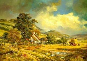 Farm Painting Hd Wallpaper Wallpaper List