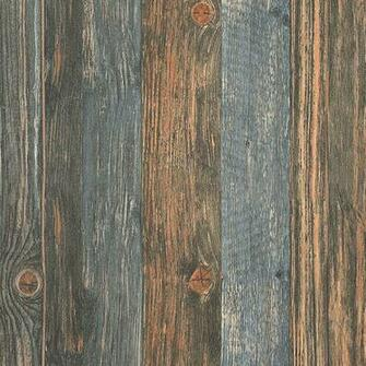 Reclaimed wood Faux Wallpaper in Charcoal Blue Brown Beige