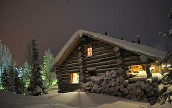 Wallpaper winter snow drifts log cabin wood night eating winter