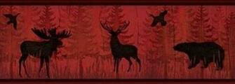 Moose and Bear Wallpaper Border TLL01601B Red Black Rustic Lodge