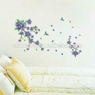 Beautiful purple flower removable 3d wallpaper for home decorationpvc