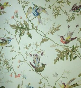 Hummingbirds Wallpaper Wallpaper with colourful birds on branches